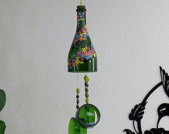 Champagne bottle windchime, green wind chime, small colorful flowers, yard art, patio decor, recycled bottle wind chime, hand painted chime