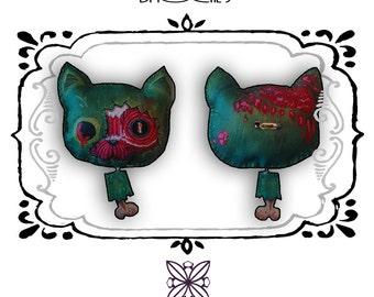 gore zombie cat brooch