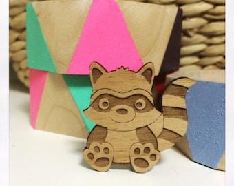 Laser Cut Wooden Raccoon Brooch