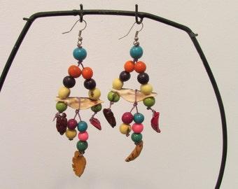 Long drop dangle earrings beads seashells boho hippie beach party
