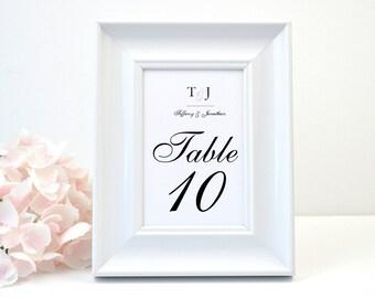 PRINTED Wedding Table Number, White Shimmer, Script, Black, Monogram, Calligraphy, Simple, Elegant, Polka Dots, DOTS Design