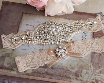 Champagne Wedding Garter, Champagne Wedding Bridal Garter, Rhinestone  Garter, Champagne Garter, Crystal Garter