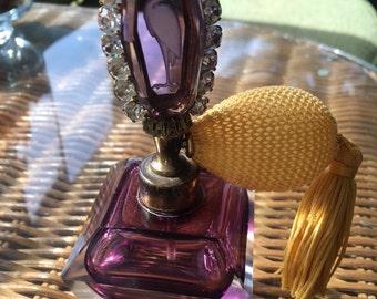 Purple Bottle with Rhinestone Stork Perfume Atomizer  Reduced Price !