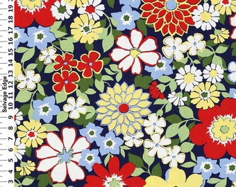 Floral Betty on Navy Cotton Home Dec Fabric - One Yard - 44 inch Home Decor Fabric