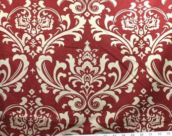 Ozborne Phoenix Premier Prints Fabric - One Yard - Khaki and Dark Red Damask Home Decor Fabric