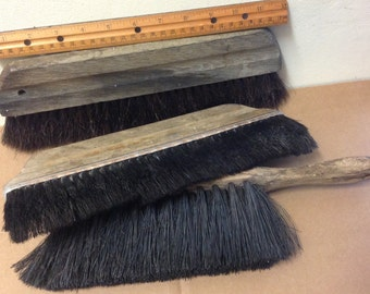 Vintage 1950's 1960's Wall Brushes wood shop rustic paint flat Decorator Tools workshop art craft tools old wooden lot of 3