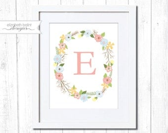 Monogram Nursery Wall Art. Printable. Floral Wreath Wall Art