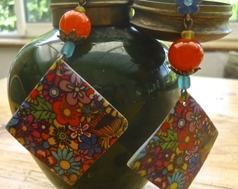 Millefiori earrings made in FRANCE