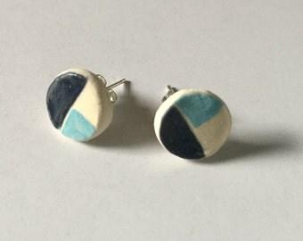 Ceramic, geometric stud earrings