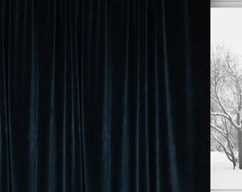 black cotton velvet curtain custom velvet drapes luxe drapery rod pocket curtains - Velvet Curtain