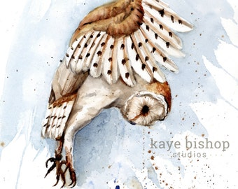 Barn Owl Watercolor Painting, Owl Landing, Animal, Bird Art, Nursery Art, Owl Painting, Owl Wall Art, Owl Decor, Owl Print, Owl Watercolor
