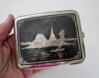 Niello Card Case/ Purse Accessory, Sterling Silver Cigarette Case ca.1930, Thai Skyline, Art Deco, Excellent Condition.