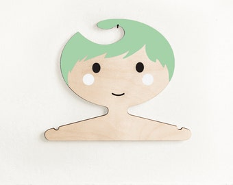 Boys plywood clothes hanger -  Green haired boy