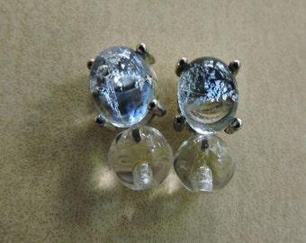 Vintage Monet Prong Set Blue Ice Clear Ice Pierced Earrings Signed Monet