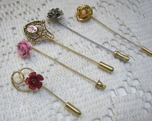 "Reduced...Vintage Lot ""ROSE"" Stick Pins...FIVE (5) Roses..Guilloche..Pearl...Enamel...Rose Gifts"