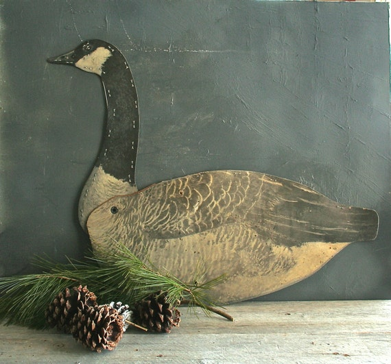 Vintage Waxed Cardboard Canadian Goose Decoy, Mantle Display, Shabby Chic, Farmhouse Decor, Rustic, Primitive