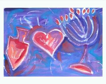 Hanukkah art PRINT, dreidel menorah and heart, Chanukah art in blues, purples and reds