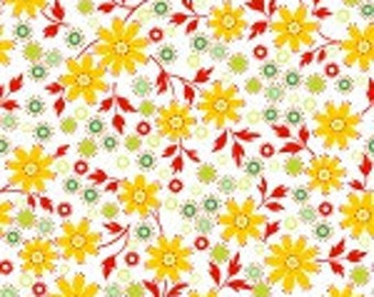Little Red Hen-by Dana Brooks for Henry Glass- White/Muliti Floral Coordinate