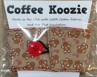 Coffee Wrap - Gingerbread Man - Adjustable Fabric Coffee Cup Wrap