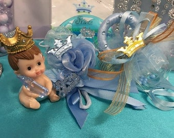 Prince Baby Shower Party Supplies Corsage Cake Topper Favor Pacifier White or Ehnic
