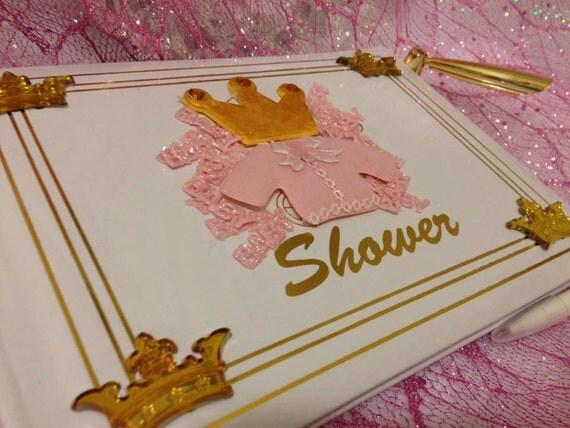 princess pink baby shower guest book keepsake