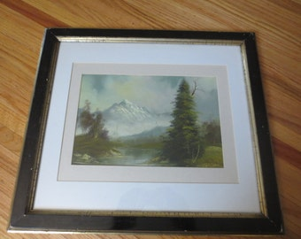 "ANTIQUE OIL PAINTING On Canvas Post Impressionism Signed Antonio 1800's Wood Frame Detailed Border Matted In White And Creme 17"" x 20"""