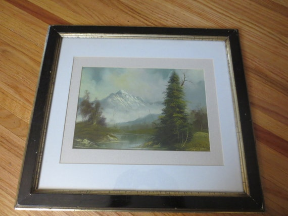 """ANTIQUE OIL PAINTING On Canvas Post Impressionism Signed Antonio 1800's Wood Frame Detailed Border Matted In White And Creme 17"""" x 20"""""""