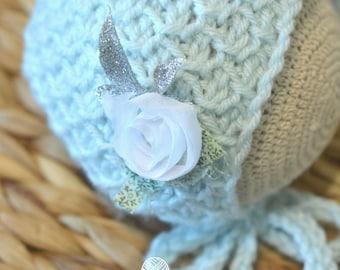 Newborn Photo Prop, Baby SILVER Blue Winter Bonnet, Winter Baby Hat, Christmas Newborn Hat, Frozen Bonnet, Christmas Baby Hat, Baby Gift