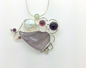 Necklace of  Purple Sea Glass with Semi Precious Stones and Coin Pearl