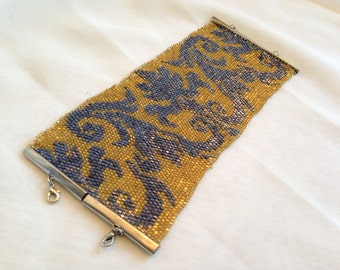 Cuff bracelet - large shiny gold and blue peyote stitch baroque style bracelet