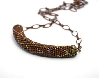 brown choker statement necklace beaded necklace bead crochet necklace beaded jewelry gift for her artisan jewelry boho necklace chain