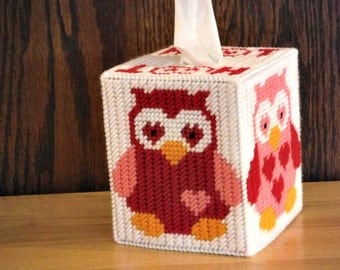 Valentine Owls Tissue Box Cover, Home Decor, Plastic Canvas, Gift For Her, Needlepoint Owl, Hoot Hoot, Red Pink Hearts