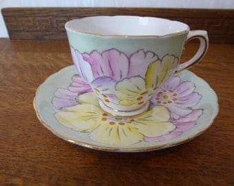 Vintage Hand Painted Teacup and Saucer Circa