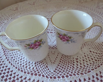 Vintage PAIR Royal Albert Bone China Coffee Mugs TRANQUILLITY Pattern Made in England  Ribbed Style