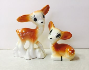 Vintage Ceramic Doe and Fawn Figurines