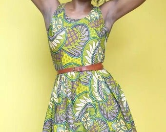 Summer Baby-doll Dress in Green Tropical Print