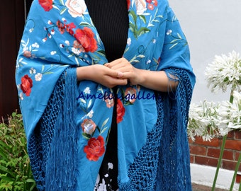 Hand embroidered spanish flamenco wedding evening silk piano shawl, dancewear