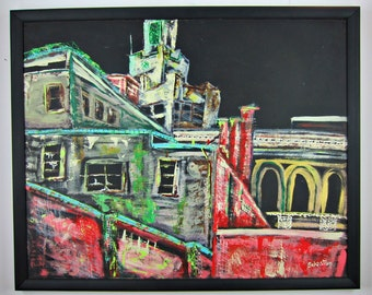 20th C. Graffiti Urban Street Art Oil Painting New York City 'El' Train Signed!