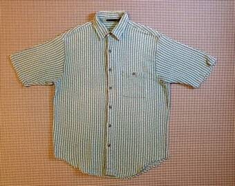 1990's, super soft, woven, button up, collar shirt, in blue-greens, Men's size Large