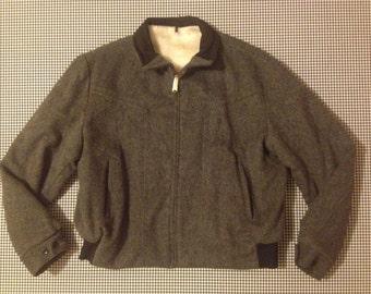 1960's, fleece lined, wool jacket, in charcoal grey, Men's size Small, Women's size Large