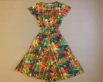 1990's, bright and colorful, plaid and floral print, cotton dress, Women's size Medium.  100% cotton