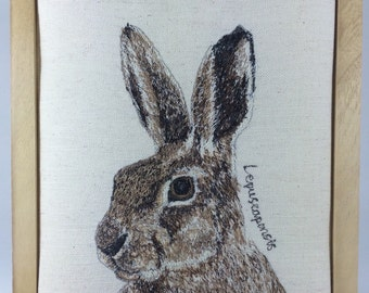 Hare textile art/ Hare fibre art / Hare picture/ Hare art/Hare free motion embroidery /free machine stitched picture/ Hare hoop art