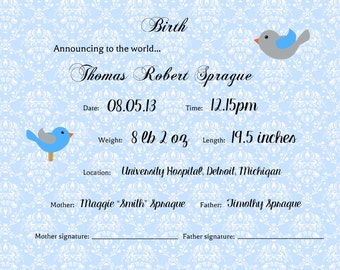 Personalized Birth 8x10 Certificate/Announcement -- Boy