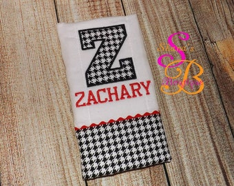 Burp Cloth,  Houndstooth with name
