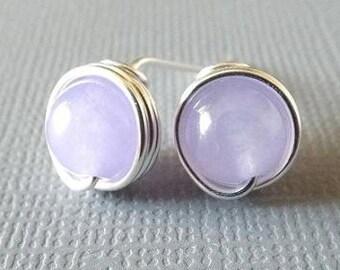 Purple Jade Earrings, Lavender Earrings, Purple Stud Earrings, Silver Jade Earrings, Gift for Mom, Girlfriend Gift, Cute Earrings, Teen Gift