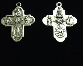 6 Pieces, Catholic metal, 4 way medals, reversible religious medal, double-sided four-way charms,  antique silver finish, 30x24mm, 2-52-AS