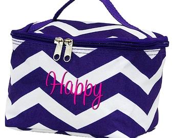 Personalized Cosmetic Bag | Bridesmaid Gift | Makeup Bag | Mini Makeup Bag | Cosmetic Travel Bag | Purple Chevron Makeup Organizer