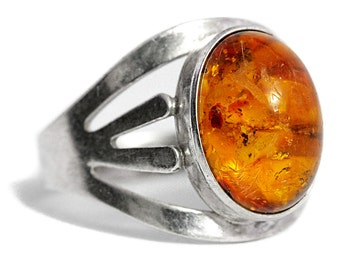 Antique Amber Ring Silver Art Deco