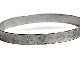 835 Antique Silver Bangle Hammered Bracelet Jewelry