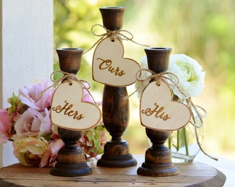 rustic unity candle holders , country wedding unity candle set, barn wedding decor, set of 3